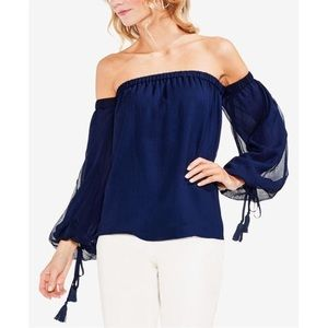 Vince Camuto Navy Blue Off the Shoulder Blouse L